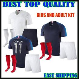 Wholesale Foot Boy - 2018 france kids soccer Jersey World Cup home BLUE pogba 18 19 PAYET DEMBELE MBAPPE GRIEZMANN KANTE adult kit MAILLOT DE FOOT top quality