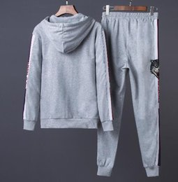 Wholesale Gray Cardigan Sweater Men - 2018 tiger Young male sports suit Brand Men's Jacket par Hoodies Sweaters casual hooded sweater suit men sport suit