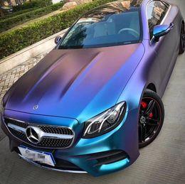 pegatina brillante azul Rebajas 50 * 150 Charm Purple Blue Color Change Car Body Film Electro Coating Car Vinyl Wrap Brillante Matt Car Interior Pegatinas de Estilo