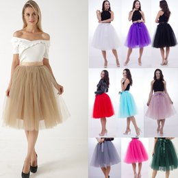 a218bfa05f1 5 Layers Pleat Tulle Skirts For Women Bowknot Fixed Satin Waist Tea Length  Midi Maxi Skirts Plus Size Petticoat Party Skirts