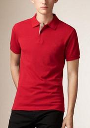 cuello de polo púrpura Rebajas Últimos hombres Brit Polo camisas Business Niños marcas London Solid Polo Shirt Turn-down collar Classic polos Tops Tees White Purple