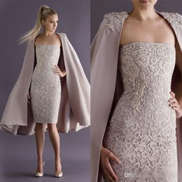 Discount strapless deep v white dress - Paolo Sebastian 2018 Short Prom Cocktail Dresses with Long Coat Knee-length Strapless Lace Modest Sheath Arabic Dubai Occasion Party Gown