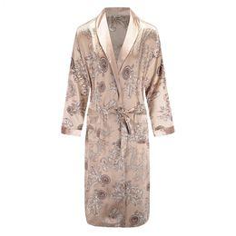 8c1dcdbe13 New Long Sleeve Robe Satin Sleepwear Print Dragon Phoenix Kimono Bathrobe  Gown Men s Casual Home Clothes Loose Pajamas L-XXL