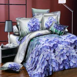 Conjunto de ropa de cama de lujo con flores rosa rosa 3D, funda de edredón / funda nórdica funda de almohada Sábanas Ropa de cama gules Labios Decoración de hoja verde desde fabricantes