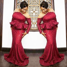 Wholesale White Plus Size Peplum Dresses - Plus Size South African Prom Dresses 2018 Dark Red Sequined Long Sleeves Evening Gowns Sheer Neck Peplum Mermaid Women Party Vestidos