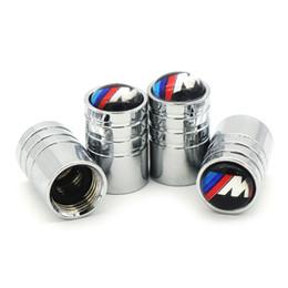 tappi per logo della valvola pneumatici Sconti 4 Pz / set Auto M Logo Ruota Pneumatici Valvole Pneumatici Stem Air Caps Copertura ermetica per BMW M E53 E46 E39 E90 E36 E60 E30 F30 F10 Auto-Styling