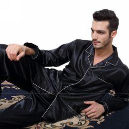 Wholesale Pyjama Satin - Mens Silk Satin Pajamas Pyjamas Set Sleepwear Set Loungewear U.S. S,M,L,XL,XXL,XXXL,4XL__Fits All Seasons