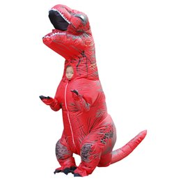Wholesale Red Jumpsuit Costume - Kids T-REX Inflatable Costume Christmas Party Mascot Brown Red Dinosaur Animal Jumpsuit Halloween for Children LJ-009