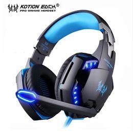 Разъем для наушников онлайн-Kotion Each G9000 Игровая гарнитура Наушники 3,5 мм Стерео-джек с микрофоном и светодиодной подсветкой для PS4 / планшета / ноутбука / мобильного телефона DHL