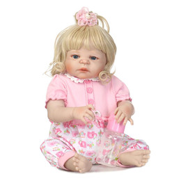Wholesale beautiful baby toys - New Beautiful Girls Reborn Dolls Realistic Toys 23 inch Full Silicone Vinyl Reborn Babies Doll Waterproof Children Xmas Gifts