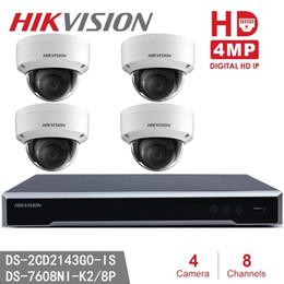 Cctv kit dome online-Kits de CCTV para cámara Dome más nuevos de Hikvision DS-2CD2143G0-IS 4MP IR Cámara de red con cúpula fija + Hikvision DS-7608NI-K2 / 8P Juego de enchufe integrado 4K