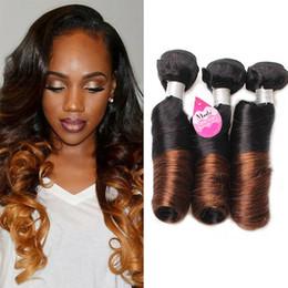 Wholesale Fast Shipping Peruvian Virgin Hair - 2 Tone Ombre #1B 4 Spring Curl Hair 3 bundles Brazilian Virgin Human Hair Weaves Spring Curl Hair Extensions Fast Free Shipping
