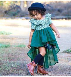 2018 nouveau style européen bébé fille robes d'été mode enfants vert à carreaux tulle dentelle hirondelle queue robe enfants vêtements livraison gratuite ? partir de fabricateur