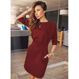 fasce nere di abito rosso Sconti 2018 Hot Summer Autumn Women Fashion Casual Mini Dress Mezza manica Quarter Vino rosso Black Black Fuscia Abiti Plus Size Abbigliamento
