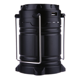 Wholesale Solar Powered Lanterns For Camping - 6 LED Portable Collapsible Camping Lanterns Lights Solar Power USB Cable Camping Light for Hiking Emergencies