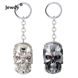 Wholesale Metal Shaped Keychain - 2 Color Movie Terminator Skull Shape Mechanical 3D Bright Silver Plated Metal Keychain Chaveiro Keyring Men Gift For Cars
