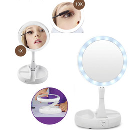 Wholesale led makeup mirror magnifying - Foldable LED Makeup Mirror Professional 10X Magnifying Mirrors Tri-fold Desktop Mirror Mirror Make Up Tool with Storage Box