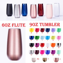 Wholesale double wall glass bottle - 6oz Flute egg cups stainless steel tumbler wine glasses unicorn 12oz tumblers Double Wall Vacuum insulated water bottle with lids rose gold