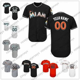 Wholesale Miami Shorts - Custom Miami Florida Baseball Jerseys Mens Womens Youth Kids Gray Road White Black Orange Personalized Sewn Any Your Own Name Number S,4XL