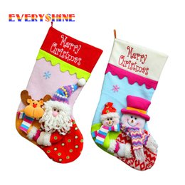 Wholesale Black Snowman - 50cm Santa Claus Snowman Christmas Stockings Decoration Tree Ornaments Christmas Candy Bags Gift Holders for Childrens SD178