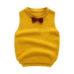 Bowtie a maglia online-ragazzi maglia maglione maglia INS 5 colore 2018 Europa e America Style nuovo arrivo Autunno inverno maschietti di colore solido bowtie maglia maglione