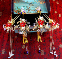2017 nuevo traje de boda estilo chino, artículos de sombrerería, set de peluquería antigua, ropa Xiu Wo, vestido de dragón y fénix, galería de fotos accessori desde fabricantes