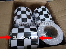Wholesale Race Heads - 12cmx3000cm Stripes Black & White chequer Vinyl with air bubble free For racing & motor wrapping covering SELF ADHESIVE
