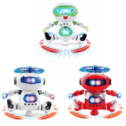 Wholesale novelty music - Cute Electric Music Light Dancing Robot Smart Toys Space Walking Toys Musical Action Figures Toys Novelty Items OOA5017