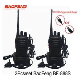 Wholesale Pc Walkie Talkie - 2 pcs set Cheapest Walkie Talkie Baofeng BF-888s 5W 16CH UHF 400-470MHz BF 888S Interphone BaoFeng 888S Radio with USB charger