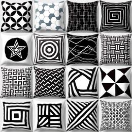 Projetos geométricos do coxim on-line-Novo Design Preto e Branco Padrão Geométrico Fronhas Quadrado 18x18 Polegadas Caso Almofadas de Casamento Decorativo