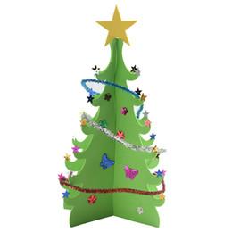 Canada Paillettes Arbre De Noël Creative DIY Joyeux Noël Xmas Blessing Table Décoration Pour Le Nouvel An Cadeau 3D 2 Couleurs cheap blessing decorations Offre