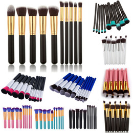 Wholesale Mini Nylon Brush - Mini Kabuki Makeup Brushes Sets Kit 10pcs Professional Cosmetics Make up Tools Wood Handle Eyeshadow Foundation Makeup Brush Set