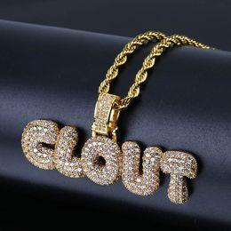 nombre alfabetos Rebajas Personalizado nombre en inglés collares de oro letras de burbuja de plata Iced out CZ alfabeto colgante cadenas para mujeres hombres joyería de hip hop