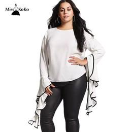 7812e0c23c36ad white blouses big sleeves Promo Codes - Misskoko Plus Size Women Blouse  White O-Neck