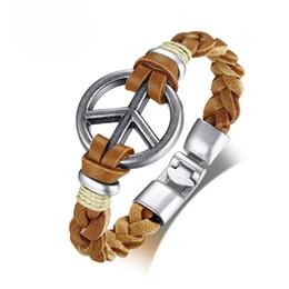 2019 handgefertigte herren lederarmband Retro Peace Symbol Herren Armband Handmade Geflochtene Echtleder Seil Armbänder Armreifen 8,46