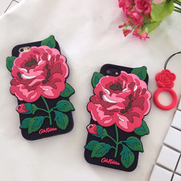 Wholesale Flower Case For Iphone - rubber silicone case for iphone X 5 6 6Plus 7 Plus 8Plus soft 3D rose flower cell phone case for sexy girl