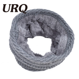 Wholesale red loop scarf - Wholesale- 2017 Women Winter Scarf Knitted Scarves Plus Velvet Cotton Neck Warm Scaves Boys Scarf Men Loop Scarf HZS999