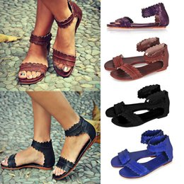 745b5118f75f9 ANGUSH Women s Summer Fish Mouth Flats Sandals 2018 New Arrival Large Size  PU Leather Sandals Casual Comfort Ladies Soft Bottom Shoes 35-45