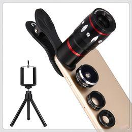 Lente 4in1 on-line-Kit de Câmera de Telefone Clip-on 4em1 Lente de Peixe de 198 ° + Lente Macro de 15x + Grande Angular de 0.63x + Lente Telefoto de Zoom Óptico de 10x para Telefone
