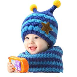Wholesale Hooded Scarf Cute - 2017 Sweet Child Cute Winter Baby Wool Hat Hooded Scarf Earflap Knit Cap Toddler European and American popular