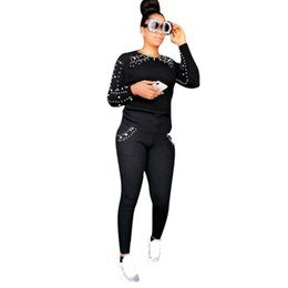 4cdd4db92b8 Fashion Beading Rhinestone Casual 2 Piece Outfits Autumn O Neck Long Sleeve  Tees Pockets Fit Slim Pants Women Black Tracksuits