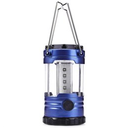 36pc 12 Led Bivouac Camping Hiking Fishing Tent Lantern Light Lamp With Compass Blue Color White Light Portable Lanterns