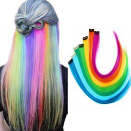 Tira a cor do cabelo on-line-Destaque colorido Clipe Sintético Em Extensões Do Cabelo One Piece Cor Tiras Longa Em Linha Reta Peruca para Fãs de Esportes de 20 Polegadas