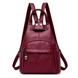 d13d537162c6 female backpack preppy style 2019 - 2018 Women Soft Leather Backpacks High  Quality Vintage Bagpack Ladies