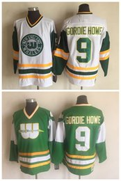 6bed76270 1978 New England Whalers Jersey 9 Gordie Howe Green White 100% Stitched CCM  Vintage Hockey Jerseys discount whalers jerseys