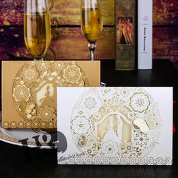 Wholesale Marriage Card Decoration - H&D Bride And Groom Marriage Laser Cut Wedding Invitations Cards & Envelopes & Seals Baby Shower Wedding Decoration ,Pack of 50