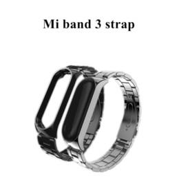 Xiaomi mi band черный онлайн-FGHGF Mi Band 3 ремешок безвинтовой Браслет из нержавеющей стали Smart Band my miban 3 Замена аксессуары черный для Xiaomi Mi