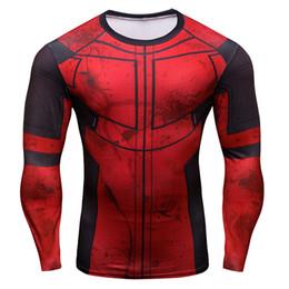 Wholesale deadpool t shirt - Deadpool long-sleeved compression t shirt men Deadpoolt 3D printing cosplay t-shirts fitness tights T-shirt