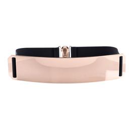 Wholesale wide gold metallic belt - New Fashion Women's Belt Elastic Mirror Metal Waist Belt Metallic Glisten Gold Plate Wide Obi Band for Women Female Accessories