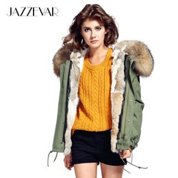 Wholesale dark blue women fur coat - Wholesale- JAZZEVAR Fashion woman army green Large raccoon fur collar hooded coat parkas outwear detachable rabbit fur lining winter jacket